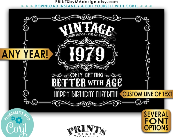 """Vintage Birthday Sign, Better with Age Liquor Themed Party, Custom PRINTABLE 24x36"""" Black & White Sign <Edit Yourself with Corjl>"""
