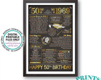 "Back in 1969 Poster Board, 50th Birthday Born in 1969 Sign, Flashback 50 Years Ago B-day Gift, PRINTABLE 24x36"" Sign <ID>"