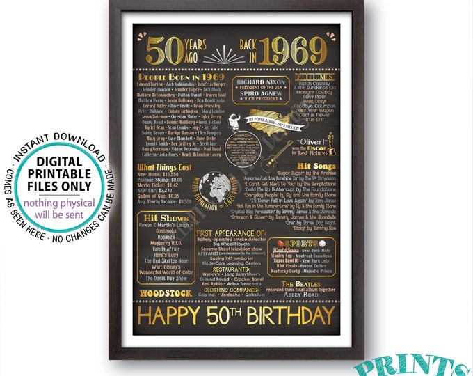 """Back in 1969 Poster Board, 50th Birthday Born in 1969 Sign, Flashback 50 Years Ago B-day Gift, PRINTABLE 24x36"""" Sign <ID>"""