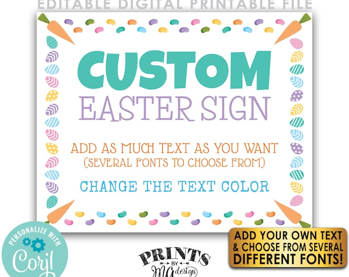 """Editable Easter Sign, Choose Your Text, Easter Eggs & Jelly Beans, One Custom PRINTABLE 8x10/16x20"""" Landscape Sign <Edit Yourself w/Corjl>"""