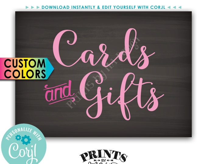 """Cards and Gifts Sign, Custom Colors Gift Table Sign, PRINTABLE 5x7"""" Chalkboard Style Sign <Edit Colors Yourself with Corjl>"""