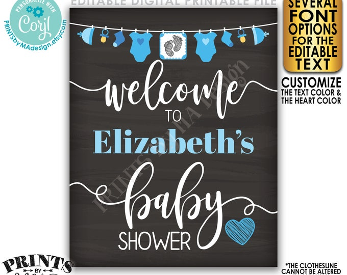 "Editable Baby Shower Welcome Sign, It's a Boy, Blue Decor Clothesline, PRINTABLE 8x10/16x20"" Chalkboard Style Sign <Edit Yourself w/Corjl>"