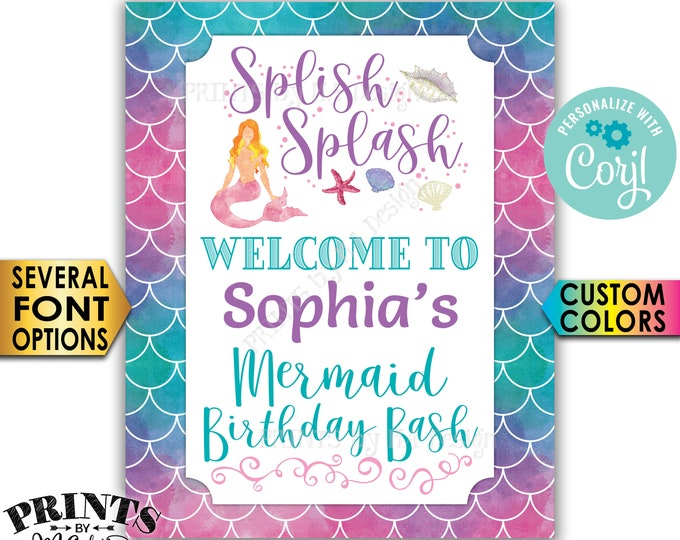 """Mermaid Birthday Party Welcome Sign, Splish Splash Welcome to the Bday Bash, PRINTABLE 8x10/16x20"""" Sign <Edit Yourself with Corjl>"""