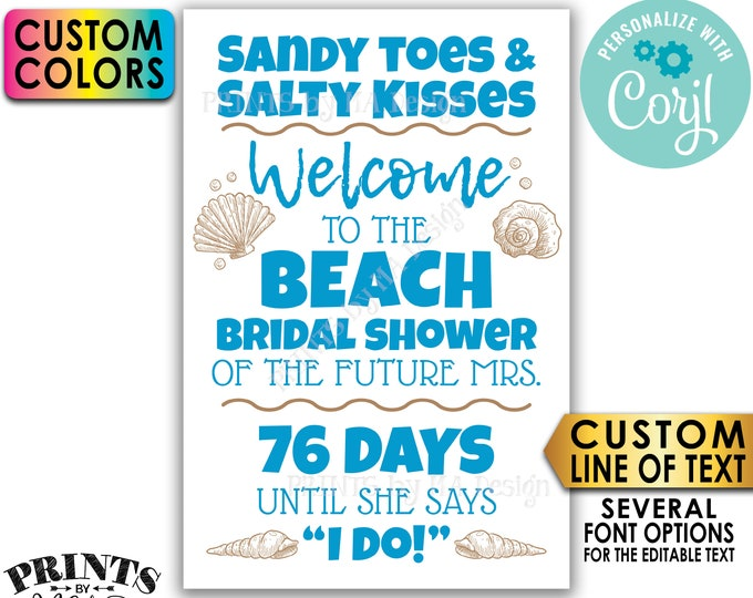 """Beach Bridal Shower Countdown Sign, Beach Wedding Shower Welcome Poster, Editable PRINTABLE 24x36"""" Sign <Edit Yourself w/Corjl>"""