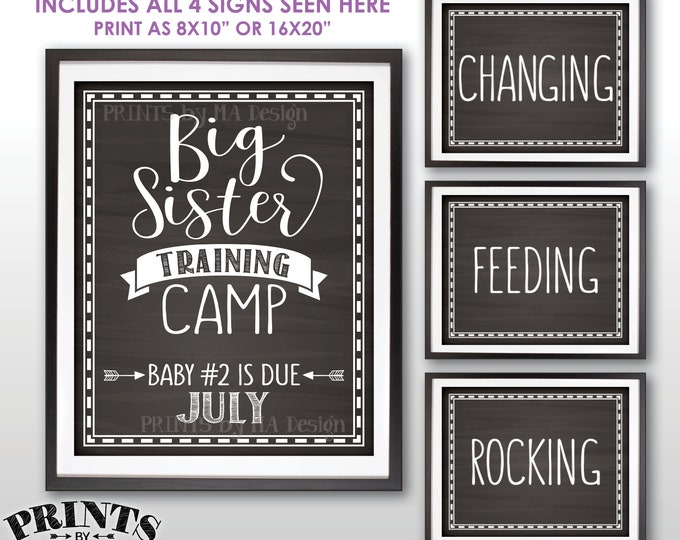 Pregnancy Announcement, Big Sister Training Camp Photo Props, Baby #2 is due in JULY Dated Chalkboard Style PRINTABLE Baby Reveal Signs <ID>