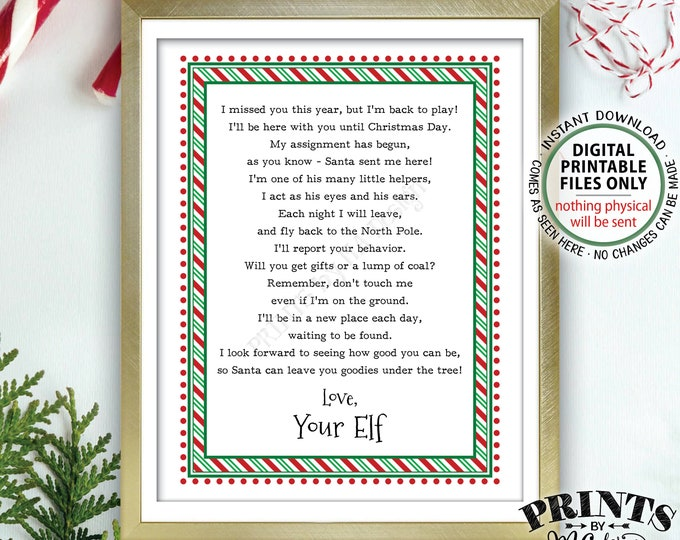 "Welcome Back Letter to Kids from their Christmas Elf, Elf Hello Letter, The Elf has Returned, PRINTABLE 8.5x11"" Elf Sign <Instant Download>"