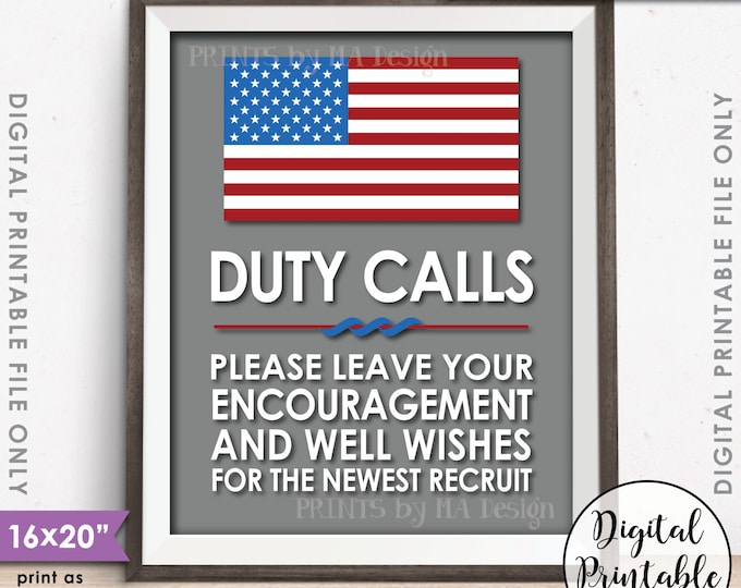 "Military Party Decor, Leave your Encouragement and Well Wishes, Boot Camp, Gray Background, American, 8x10/16x20"" Printable Instant Download"
