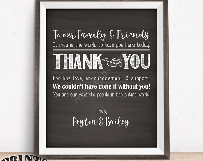"""Thank You Sign, Graduation Party Decoration, Thanks from the Graduates Thank You Poster, PRINTABLE 8x10/16x20"""" Chalkboard Style Grads Sign"""