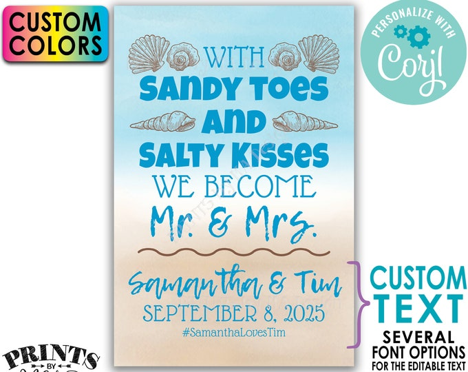 """Beach Wedding Sign, Sandy Toes and Salty Kisses We Become Mr & Mrs, PRINTABLE 24x36"""" Watercolor Style Editable Sign <Edit Yourself w/Corjl>"""