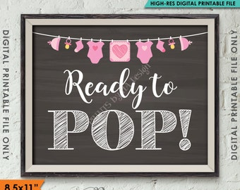 "Ready to Pop Baby Shower Sign, Popcorn, Cake Pop, Baby Shower Decor, Pink Clothesline, Instant Download 8.5x11"" Chalkboard Style Printable"