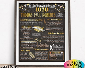 "Back in 1920 Birthday Poster Board, Flashback to 1920 Birthday Party Decoration, Gift, Custom PRINTABLE 16x20"" 1920 Sign"