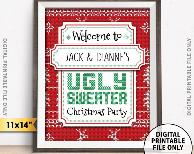 """Ugly Christmas Sweater Party Welcome Sign, Ugly Sweater Christmas Party Sign, Tacky Sweater Party, 11x14"""" PRINTABLE Christmas Party Sign"""