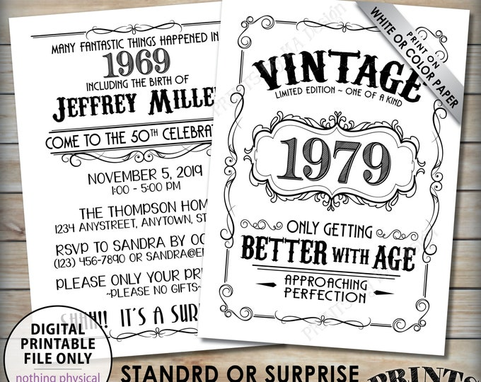 "Vintage Birthday Invitation, Aged to Perfection Birthday Invite, Better with Age Bday Whiskey Theme Party, Two 5x7"" Digital PRINTABLE Files"