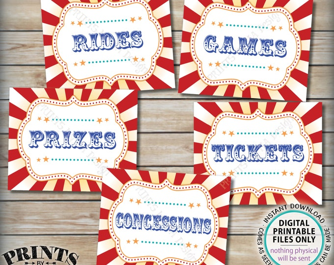 "Carnival Signs, Carnival Games, Prizes, Tickets, Concessions, Rides, Carnival Bundle Pack, Circus Party, PRINTABLE 8x10/16x20"" Signs <ID>"