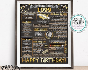 """1999 Birthday Poster Board, Back in 1999 Birthday Decoration, Flashback to 1999 B-day Gift, PRINTABLE 16x20"""" Sign <ID>"""