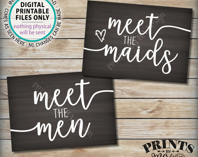 """Meet the Maids & Men Signs, Intro Maids and Men Bridal Party, Bridesmaids Groomsmen, Two PRINTABLE 5x7"""" Chalkboard Style Wedding Signs <ID>"""
