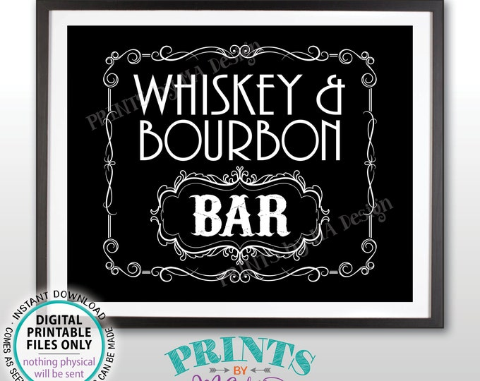 "Whiskey & Bourbon Bar Decor, Whiskey and Bourbon Bar Sign, Better with Age Vintage Whiskey Gift Black/White PRINTABLE  8x10/16x20"" Sign <ID>"