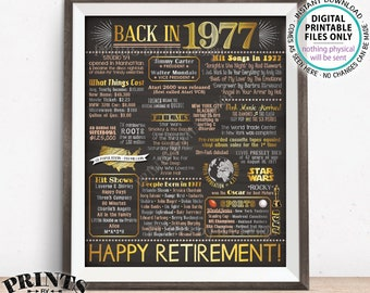 "Retirement Party Decorations, Back in 1977 Poster, Flashback to 1977 Retirement Party Decor, Chalkboard Style PRINTABLE 16x20"" Sign <ID>"