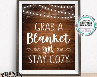 "Blanket Sign, Grab a Blanket & Stay Cozy, Warm Up Here Rustic Wedding Sign, Warm Favors, Chilly, PRINTABLE 8x10"" Rustic Wood Style Sign <ID>"
