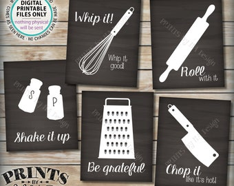 """Funny Kitchen Signs, Utensil Art Kitchen Decor, Whip It, Grateful, Roll, Chop, Shake, Five PRINTABLE 8x10/16x20"""" Chalkboard Style Signs <ID>"""
