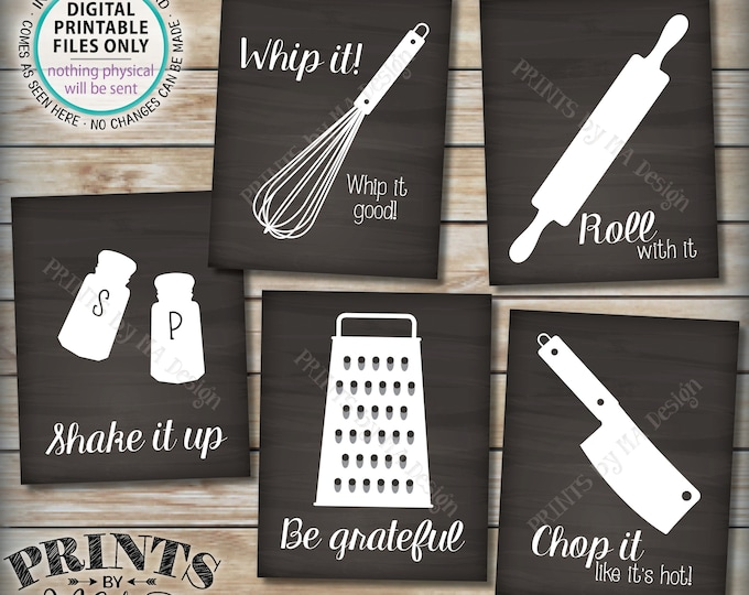 "Funny Kitchen Signs, Utensil Art Kitchen Decor, Whip It, Grateful, Roll, Chop, Shake, Five PRINTABLE 8x10/16x20"" Chalkboard Style Signs <ID>"