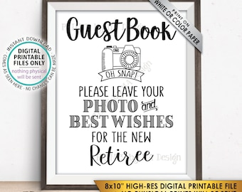 """Retirement Party Guestbook Sign, Leave Photo and Best Wishes for the new Reitree Sign, PRINTABLE 8x10"""" Instant Download Retirement Decor"""