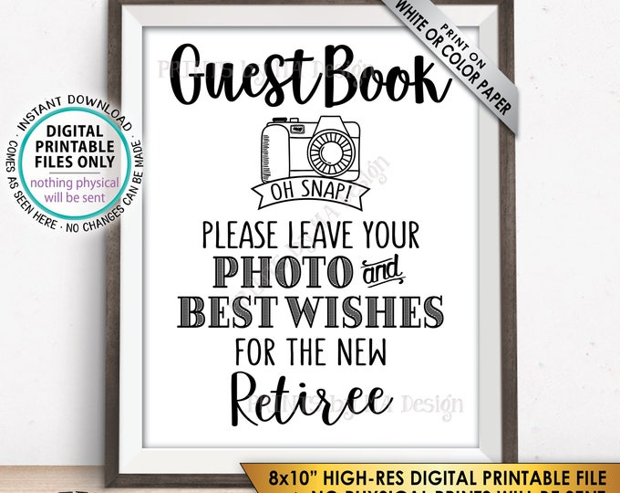 "Retirement Party Guestbook Sign, Leave Photo and Best Wishes for the new Reitree Sign, PRINTABLE 8x10"" Instant Download Retirement Decor"