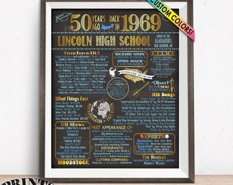 "Back in 1969 Poster Board, Class of 1969 50th High School Reunion Decoration, Graduated 50 Years Ago, Custom PRINTABLE 16x20"" Sign"