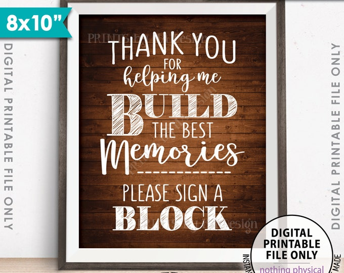 "Sign a Block Sign, Thank You for Helping Me Build Memories, Graduation Party, Retirement, 8x10"" Rustic Wood Style Printable Instant Download"