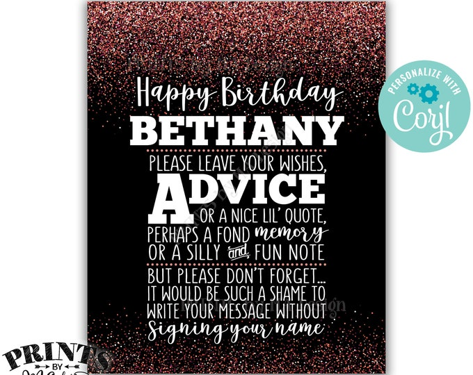 "Please Leave Your Advice Wish Memory Message, Birthday Party PRINTABLE 8x10"" Black & Rose Gold Glitter B-day Sign <Edit Yourself with Corjl>"