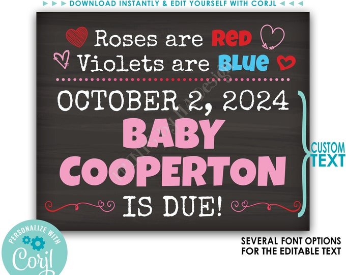 "Valentine's Day Pregnancy Announcement, Roses are Red Violets are Blue, Baby Due, Custom PRINTABLE 8x10/16x20"" Sign <Edit Yourself w/Corjl>"