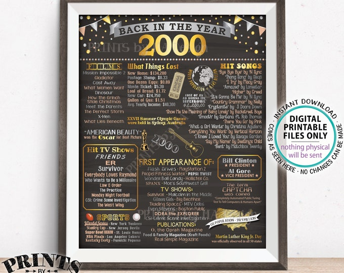 "Back in 2000 Poster Board, Remember 2000, Flashback to 2000, USA History from 2000, PRINTABLE 16x20"" Sign <ID>"
