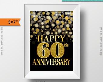 "60th Anniversary Card Black & Gold Glitter 60th Golden Bokeh, Sixtieth Anniversary Card, 5x7"" Instant Download Digital Printable File"
