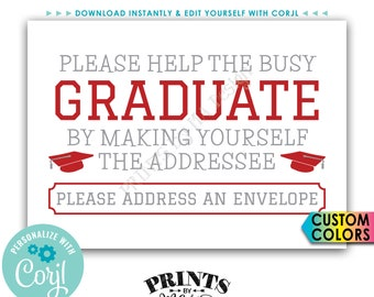 """Graduation Party Address an Envelope Sign, Help the Busy Graduate, Thank You Envelope, PRINTABLE 5x7"""" Sign <Edit Yourself with Corjl>"""