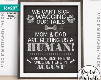 Dogs Pregnancy Announcement, Mom & Dad are Getting Us a Human in AUGUST Dated Chalkboard Style PRINTABLE Baby Reveal Sign, Dogs Sibling <ID>