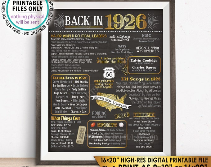 "1926 Flashback Poster, Flashback to 1926 USA History Back in 1926 Birthday Party, Born in 1926, Chalkboard Style PRINTABLE 16x20"" Sign <ID>"