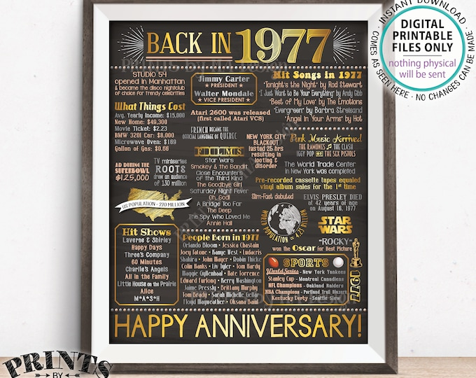 "1977 Anniversary Poster, Back in 1977 Anniversary Gift, Flashback to 1977 Party Decoration, PRINTABLE 16x20"" Sign <ID>"
