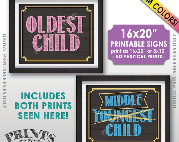 """Oldest Middle Pregnancy Announcement, 3rd Child Pregnancy Reveal, Two Custom Colors 8x10/16x20"""" Chalkboard Style Printable Signs"""