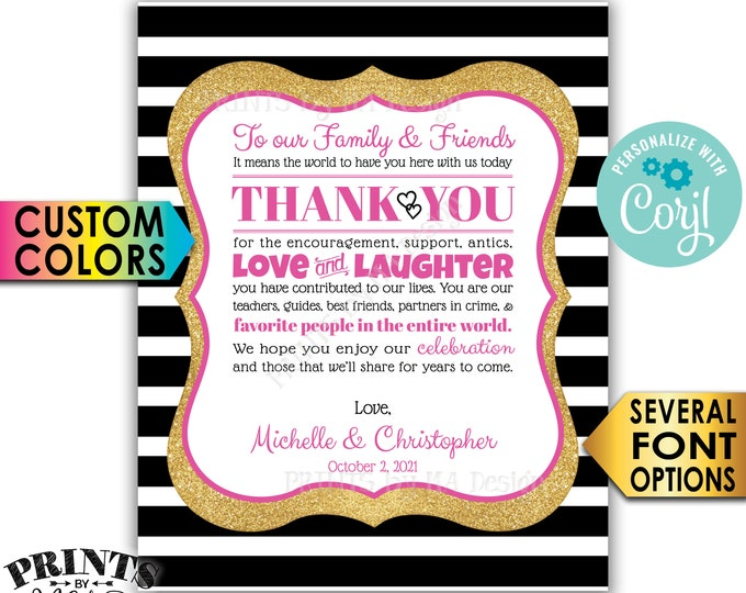 "Wedding Thank You Sign, Thank Family and Friends, PRINTABLE 8x10/16x20"" Wedding Sign, Gold Glitter & Stripes <Edit Yourself with Corjl>"