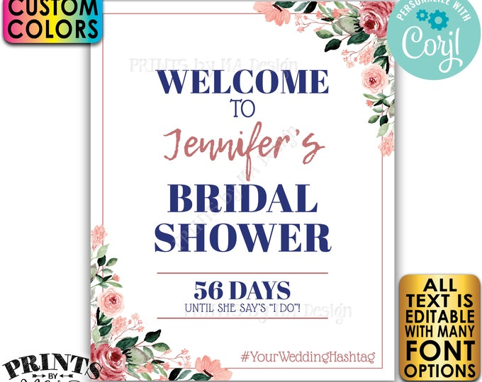 """Bridal Shower Sign, Welcome to the Bridal Shower, Custom PRINTABLE 16x20"""" Floral Sign, Editable Template <Edit Yourself w/Corjl>"""