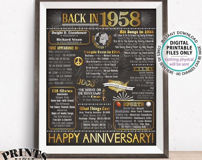 """1958 Anniversary Poster, Flashback in 1958 Anniversary Party Decoration, Back to 1958 Gift, PRINTABLE 8x10/16x20"""" Chalkboard Style Sign <ID>"""