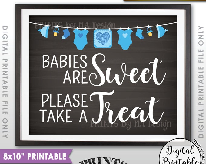 "Babies are Sweet Please Take a Treat Baby Shower Sign, Sweet Treats, Blue Clothesline, Instant Download 8x10"" Chalkboard Style Printable"