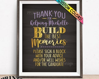 """Thanks for Helping Build Memories, Grad Sign a Block, Graduation Party Decorations, Custom Colors PRINTABLE 8x10"""" Chalkboard Style Grad Sign"""