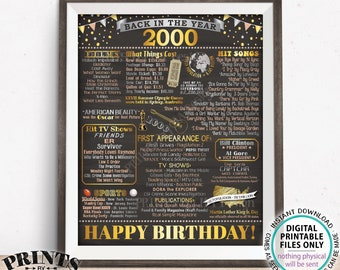 "Back in the Year 2000 Birthday Sign, Flashback to 2000 Poster Board, '00 B-day Gift, Bday Decoration, PRINTABLE 16x20"" Sign <ID>"