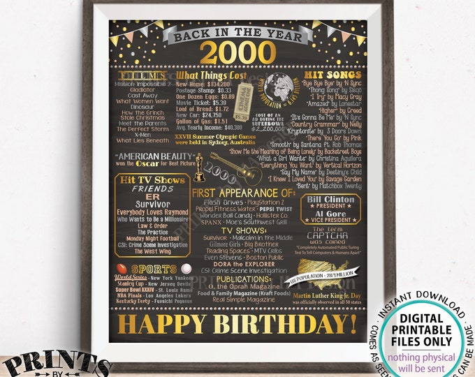 """Back in the Year 2000 Birthday Sign, Flashback to 2000 Poster Board, '00 B-day Gift, Bday Decoration, PRINTABLE 16x20"""" Sign <ID>"""