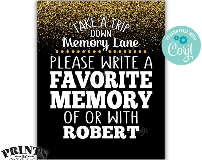 "Memory Sign, Take a Trip Down Memory Lane and Share a Favorite Memory, 8x10"" PRINTABLE Black & Gold Glitter Sign <Edit Yourself with Corjl>"