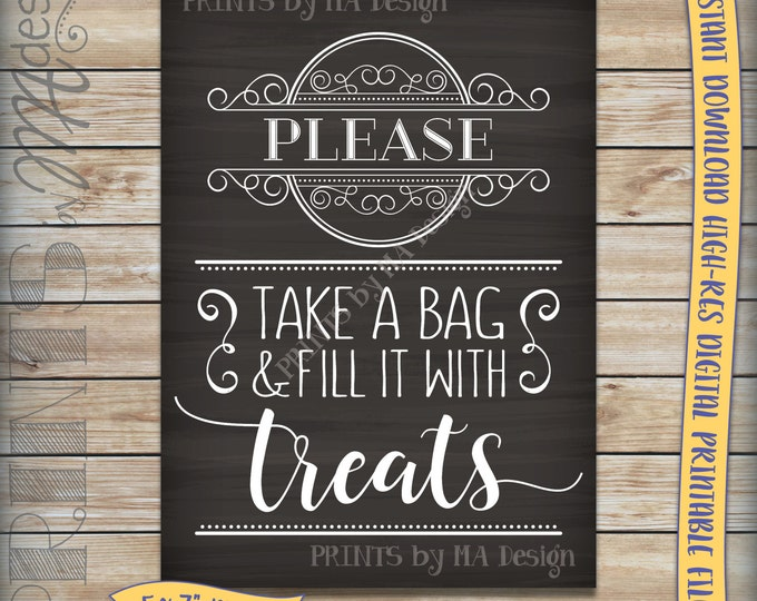 """Treats Sign, Fill a Bag with Treats, Take Some Candy Sign, Candy Wedding Reception Chalkboard, 5x7"""" Instant Download Digital Printable File"""