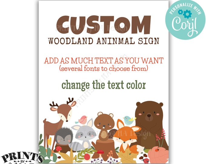 """Custom Woodland Animals Sign, Choose Your Text, One PRINTABLE 8x10/16x20"""" Portrait Forest Animals Sign <Edit Yourself with Corjl>"""