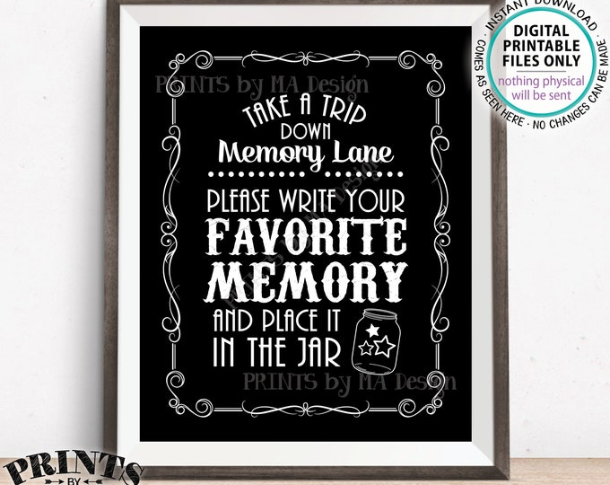 "Share a Memory Sign, Trip Down Memory Lane, Share a Favorite Memory, Whiskey Birthday, Graduation, Retirement, PRINTABLE 8x10"" Sign <ID>"