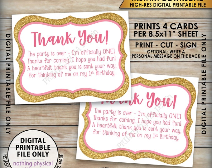 "First Birthday Thank You Cards, Pink and Gold Birthday, Princess Birthday Card, Four 4.25x5.5"" cards on 8.5x11"" Printable Instant Download"